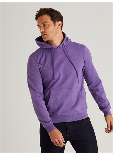 Dufy Kapüşonlu Kanguru Ceplı Erkek Sweatshirt - Slim Fit Mor